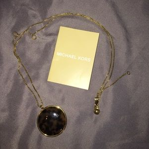 Michael Kors gold tortoise pendant necklace